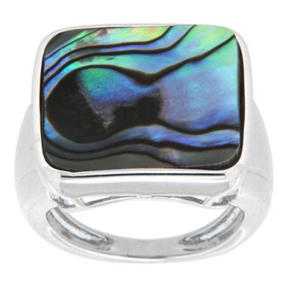 Pearlz Ocean Rhodium Plated Sterling Silver Square Abalone Shell Fancy Ring
