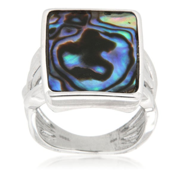 Pearlz Ocean Sterling Silver Rhodium Plated Rectangle Abalone Shell Pearl Ring