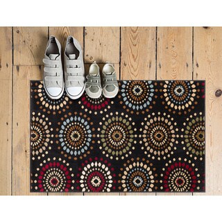 Rodeo Drive Modern Geometric Floral Dots Black, Red, Blue, Ivory, and Beige Area Rug (2'3 x 3'11)