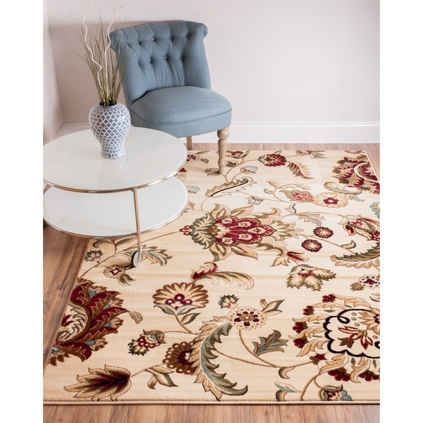 """Well Woven Transitional Oriental Garden Floral Ivory, Red, Green, Beige Area Rug - 5'3"""" x 7'3"""""""