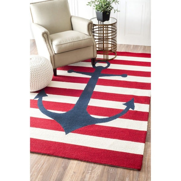 Nautical Patio Rug: NuLOOM Hand-hooked Novelty Stripe Nautical Anchors Red