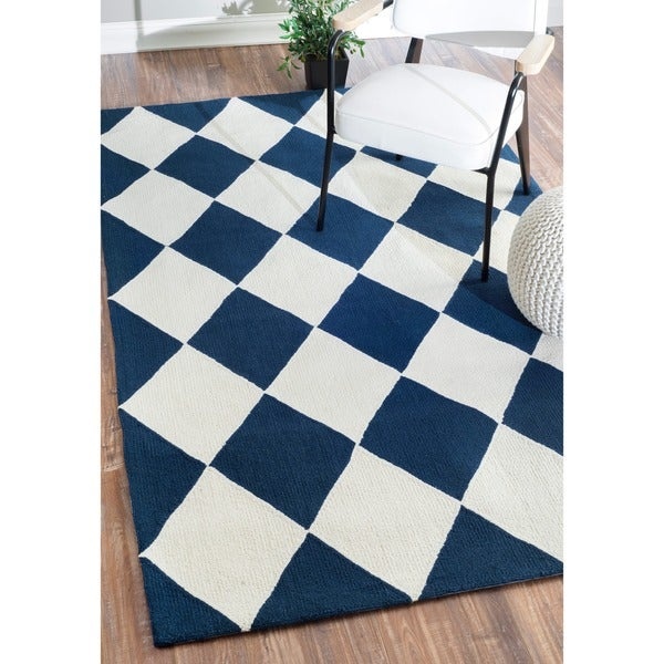 nuLOOM Hand-hooked Diamond Boxes Blue Wool Rug (7'6 x 9'6) - 8' x 10'