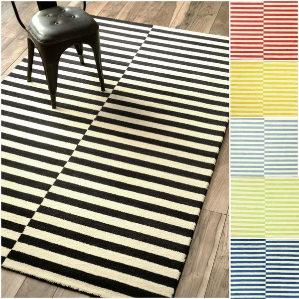 Nuloom Hand-tufted Modern Stripes New Zealand Wool Area Rug (5' x 8') - 5' x 8'
