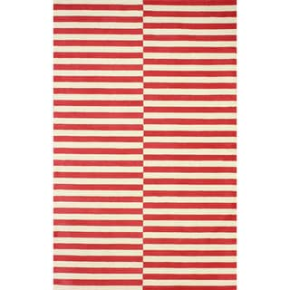 nuLOOM Hand-tufted Modern Stripes Red New Zealand Wool Area Rug (5' x 8')