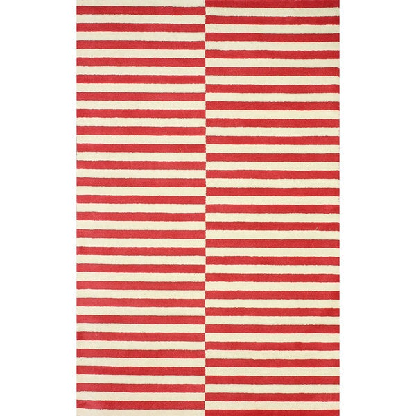 nuLOOM Hand-tufted Modern Stripes Red New Zealand Wool Area Rug (5' x 8') - 5' x 8'