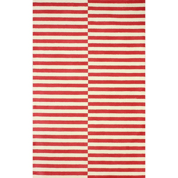 nuLOOM Hand-tufted Modern Stripes Red New Zealand Wool Area Rug - 5' x 8'