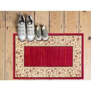 Terrazzo European Floral Border Ombre Gradient Red, Ivory, and Beige Area Rug (2'3 x 3'11)