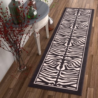 Well-woven Zebra Animal Print Beige and Black Runner Rug (2' x 7'3)