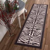 """Well Woven Zebra Animal Print Beige Black Runner Rug - 2' x 7'3"""""""