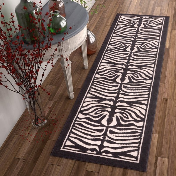 Well-woven Zebra Animal Print Beige and Black Runner Rug (2' x 7'3) - 2' x 7'3""