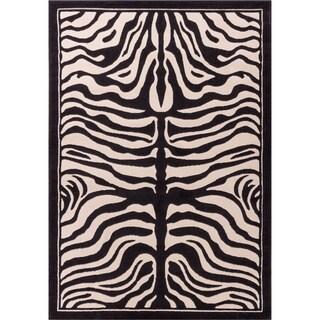 Well-woven Modern Zebra Animal Print Black and Beige Area Rug (2'7 x 3'11)