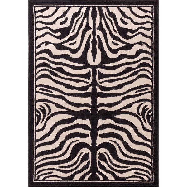 Well Woven Modern Zebra Animal Print Black and Beige Mat Accent Rug - 2'7 x 3'11