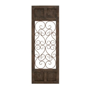 Classic Style Dark Brown Wood Metal Wall Panel