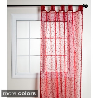 Flocked Organza Sheer Tab Top Curtain Panel