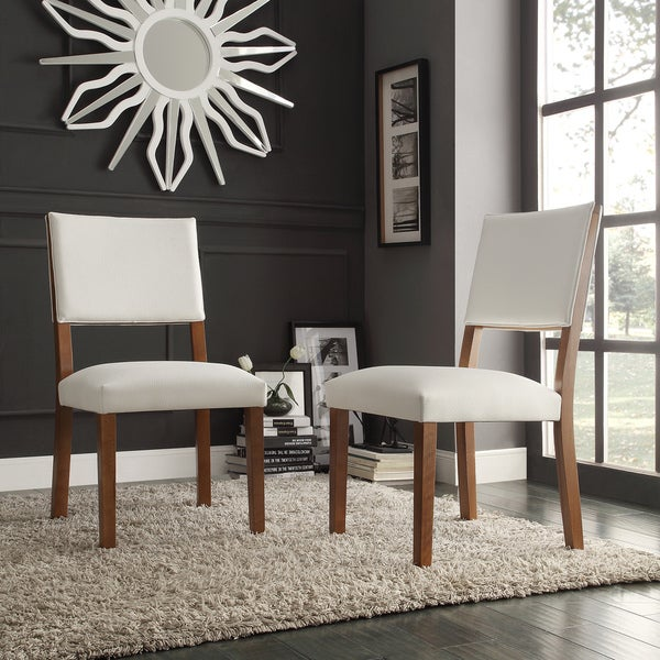 INSPIRE Q Tama Walnut Upholstered Dining Chair (Set of 2)