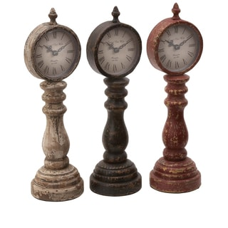 Table Clock Assorted with Antique Charm Look - Set of 3