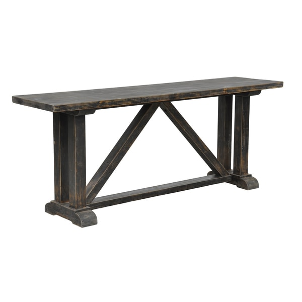 Kosas Home Baron Distressed Black Console Table