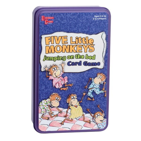 Five Little Monkeys Jumping on the Bed Card Game in a Tin