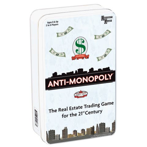 University Games Anti-Monopoly Game Travel Tin - Black/White Multi
