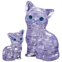 3D Crystal Cat with Kitten Puzzle