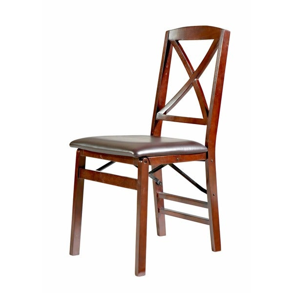 Linon Lesvos Espresso X Back Folding Chair Set Of 2