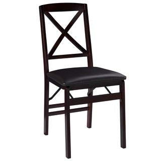Linon Lesvos Espresso x Back Folding Chair (Set of 2), Dark Brown Seat