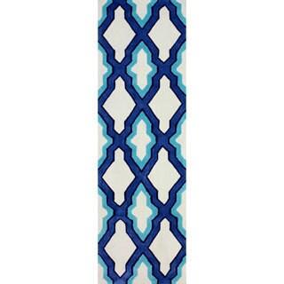 nuLOOM Handmade Marrakesh Moroccan Blue Trellis Runner Rug (2'6 x 8')