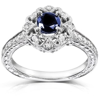 Annello by Kobelli 14k White Gold Round-cut Blue Sapphire and Diamond Vintage Engagement Ring by Kobelli (G-H, I1-I2)