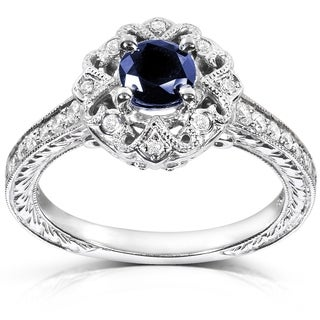 annello by kobelli 14k white gold round cut blue sapphire and diamond vintage engagement ring - Wedding Rings Vintage