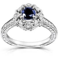 Annello by Kobelli 14k White Gold Round-cut Blue Sapphire and Diamond Vintage Engagement Ring