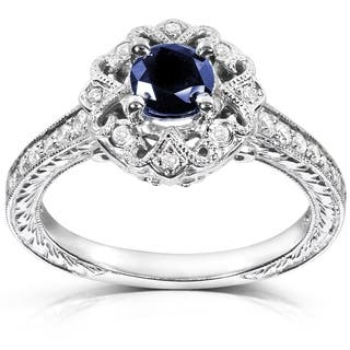 Annello By Kobelli 14k White Gold Round Cut Blue Sapphire And Diamond Vintage Engagement Ring