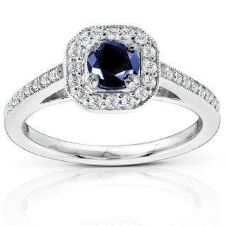 Annello by Kobelli 14k White Gold Round-cut Blue Sapphire and Diamond Halo Ring (G-H, I1-