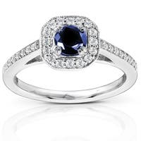 Annello by Kobelli 14k White Gold Round-cut Blue Sapphire and Diamond Halo Ring