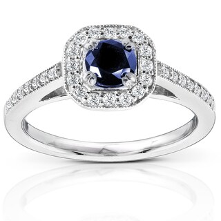 Annello by Kobelli 14k White Gold Round-cut Blue Sapphire and Diamond Halo Ring (Option: 4)