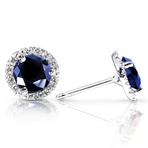 Annello by Kobelli 14k White Gold 1 1/2 Carat TGW Blue Sapphire and Diamond Halo Stud Earrings
