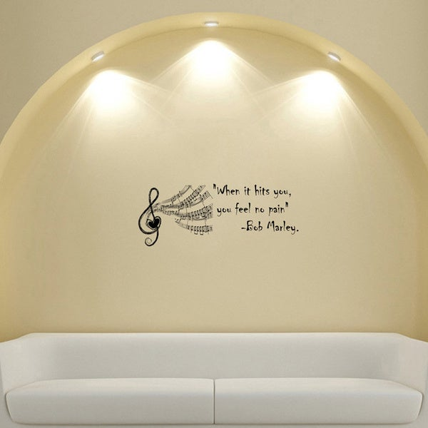 Bob marley quote musical vinyl wall decal sticker free for Inspiratinal bob marley wall decals