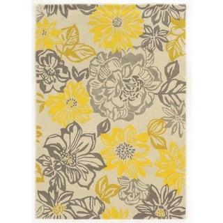 Linon Collection Floral Grey/ Yellow Area Rug (8' x 10')