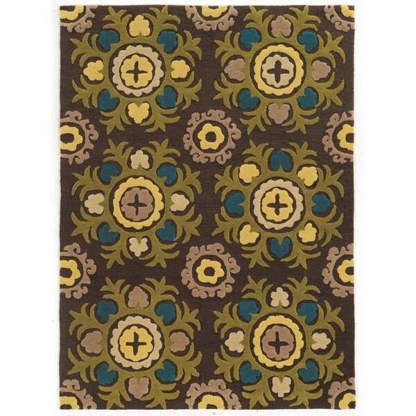 Linon Trio Collection Light Suzani Chocolate Area Rug (8' x 10')