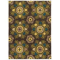 Linon Trio Collection Light Suzani Chocolate Area Rug (8' x 10')