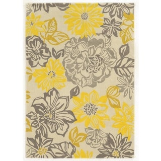 Linon Trio Collection Floral Grey/ Yellow Area Rug (5u0027 ...