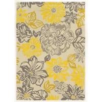 Linon Trio Collection Floral Grey/ Yellow Area Rug (5' x 7') - 5' x 7'