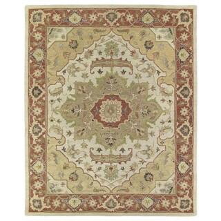 Hand-Tufted Joaquin Heriz Oatmeal Wool Rug (10' x 14')