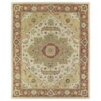 Hand-Tufted Joaquin Heriz Oatmeal Wool Rug (8' x 10') - 8' x 10'