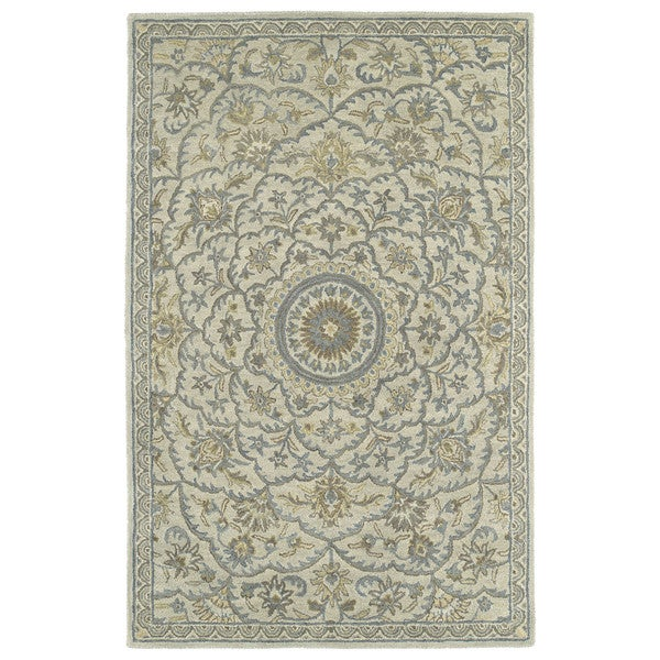 Hand-Tufted Joaquin Oatmeal Medallion Wool Rug (8' x 10')