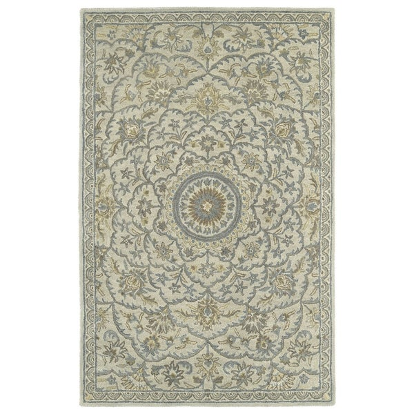 Hand-Tufted Joaquin Oatmeal Medallion Wool Rug - Multi-color - 8' x 10'