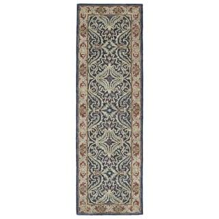 "Hand-Tufted Joaquin Blue Agra Wool Rug (2'6 x 8') - 2'6"" x 8'"
