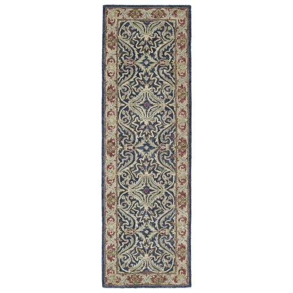 Hand Tufted Agra Red Gold Wool Rug 8 Round: Shop Hand-Tufted Joaquin Blue Agra Wool Rug (2'6 X 8