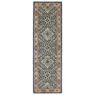Hand-Tufted Joaquin Blue Agra Wool Rug (2'6 x 8')