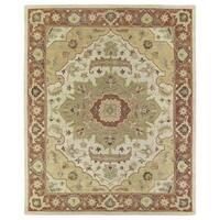 Hand-Tufted Joaquin Heriz Oatmeal Wool Rug (2' x 3') - 2' x 3'