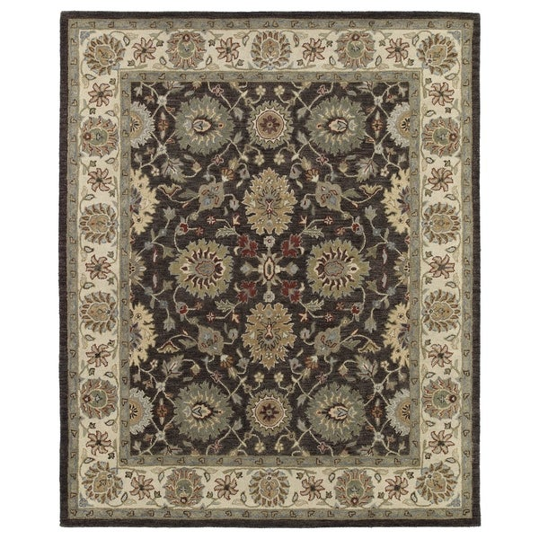 Hand-Tufted Joaquin Brown Kashan Wool Rug (5' x 7'9)